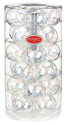 12 Christbaumkugeln GLAS 6cm ( Iris transparent ) // Weihnachtskugeln Baumkugeln Baumschmuck Weihnachtsdeko Kugeln Glaskugeln Christbaumschmuck Dose Deko 60mm