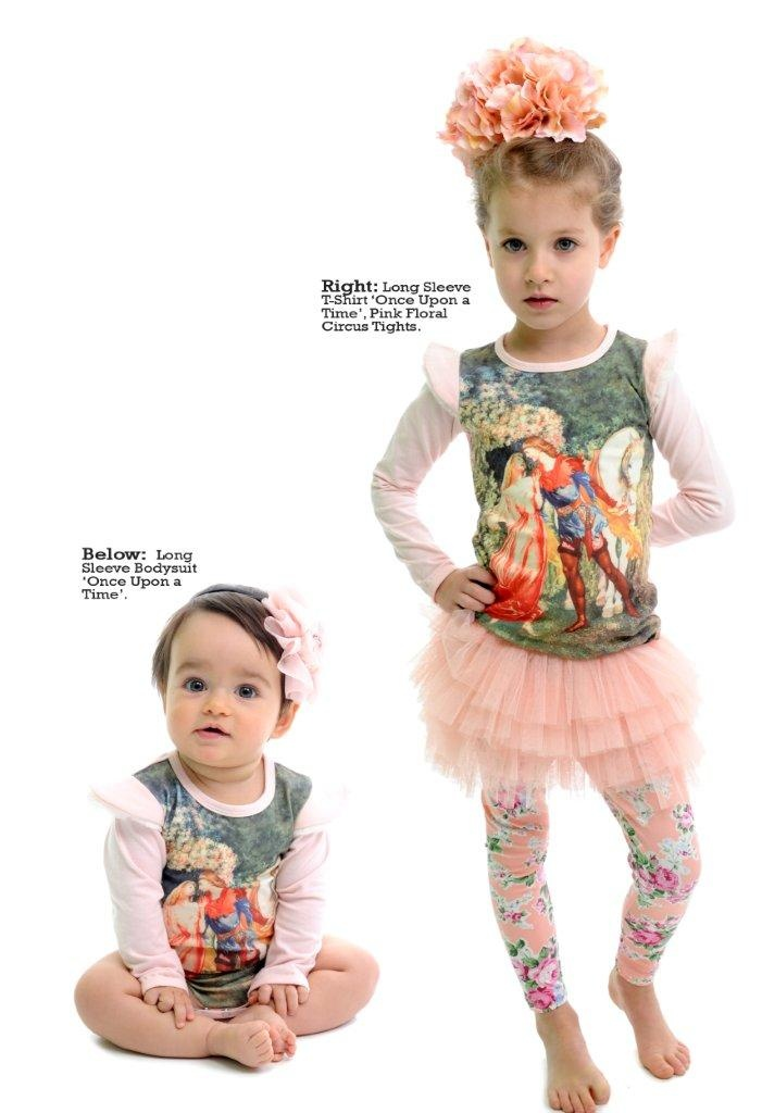 Once Upon a Time tee and Maeve Tights in pink floral. Available end of Feb at rockyourbaby.com