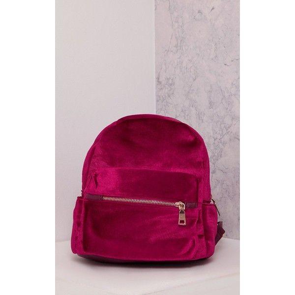 Jayci Burgundy Velvet Backpack (£15) ❤ liked on Polyvore featuring bags, backpacks, red, velvet backpack, red backpack, burgundy bag, red bag and daypack bag
