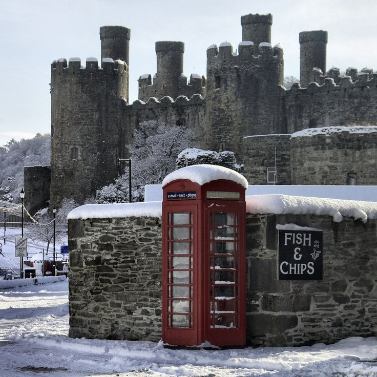 Conwy Castle, snow, red phone box.