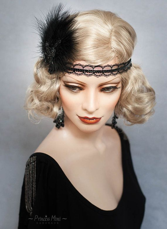 Art Deco Headpiece Flapper Headband Feathers and beaded Lace Fascinator 1920s  Great Gatsby 20's Roaring Twenties Vintage Headdress Black