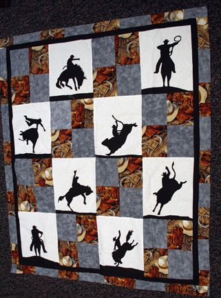 Cowboy Quilt Patterns | Tiffany made this cowboy baby blanket as a gift. She used clip art she ...