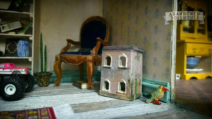 1:12 scale miniature shabby dollhouse's dollhouse by Abandoned Dollhouse