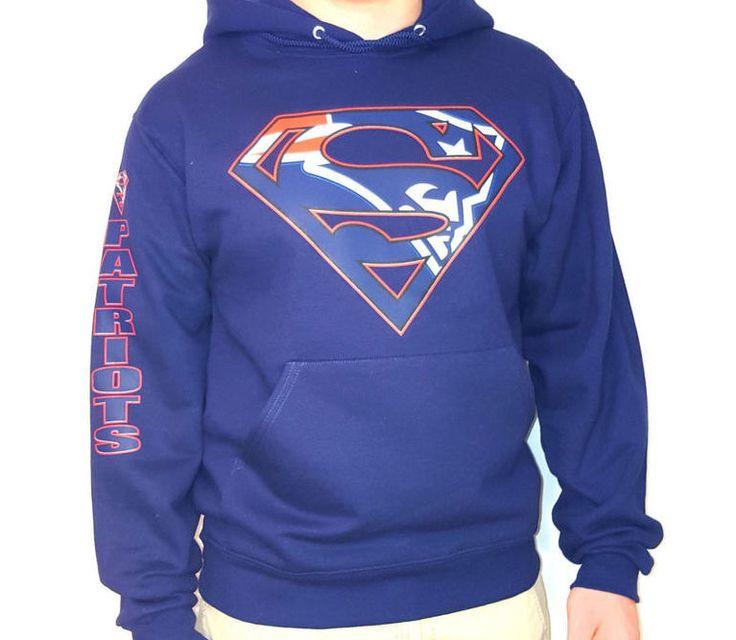 Patriotas de Nueva Inglaterra Superman sudadera por CustomTeezCT