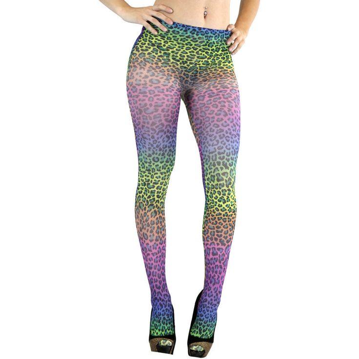 Women's Sheer Tie Dye Rainbow Ombre Leopard Animal Print Tights Pantyhose   eBay
