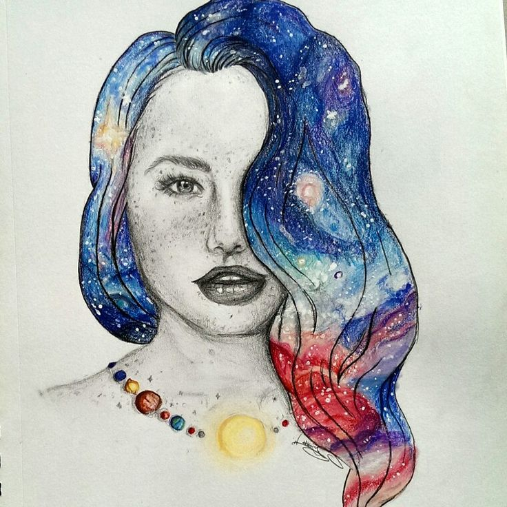 Galaxy girl drawing inspired by Josephine_drawings on instagram. Art.