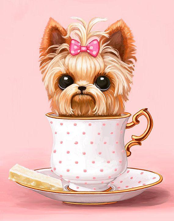 Yorkie In A Teacup - 8x10 - Digital Art Print - Cute Big Eyes Puppy Dog - Yorkshire Terrior - Animal Art