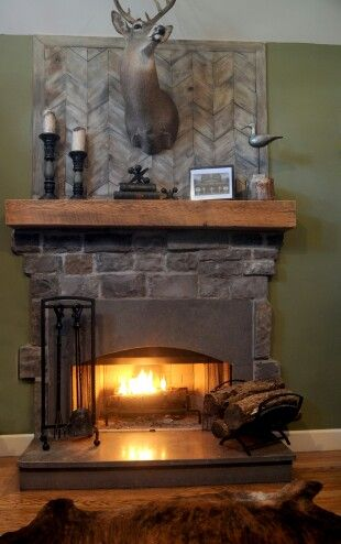 Stone fireplace wood beam mantel
