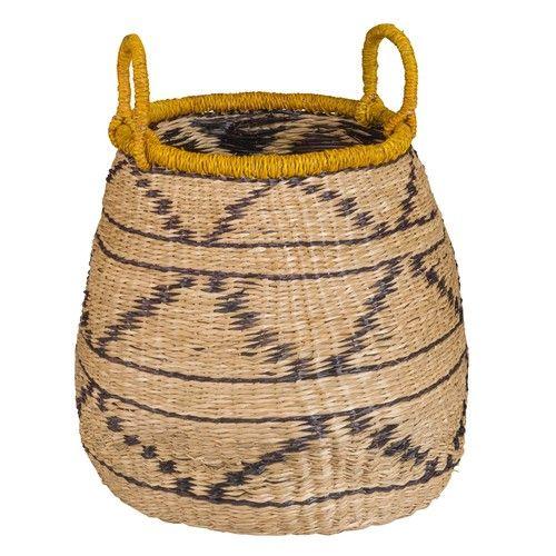 ETHNIK - Plant Fibre Basket with Black Print