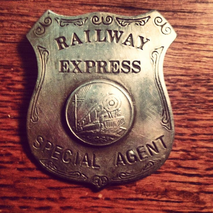 """This badge was worn by """"Special Agents"""" whose job was to ensure the safe delivery of goods shipped through the agency """"Railway Express Agency."""" Circa 1930. #antiques #antique #mantiques #atlanta #antiquesstore #vintage #badge #antiquestore #themantiquescave"""