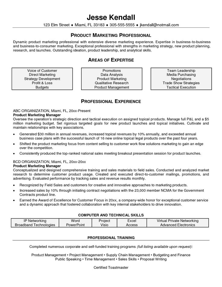 this resume example for a marketing project manager is