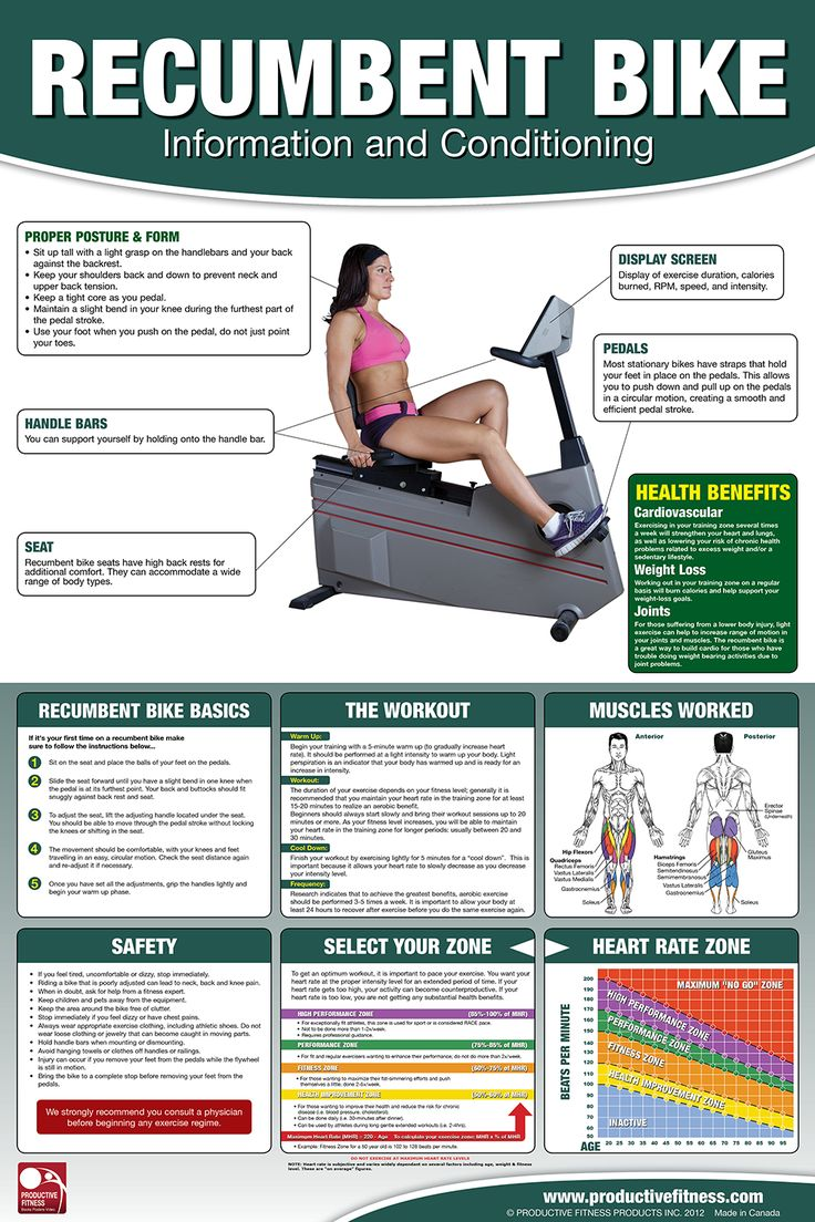 Recumbent Bike Poster/Chart - $24.95 The recumbent bike is an excellent introduction to fitness if you have been sedentary or are suffering from lower back pain. The high back seat gives you lots of back support when it is set properly. This poster shows you the basics of how to adjust the bike to your personal settings, the muscles used, how to set up a properly structured workout. #bike #chart #exercise