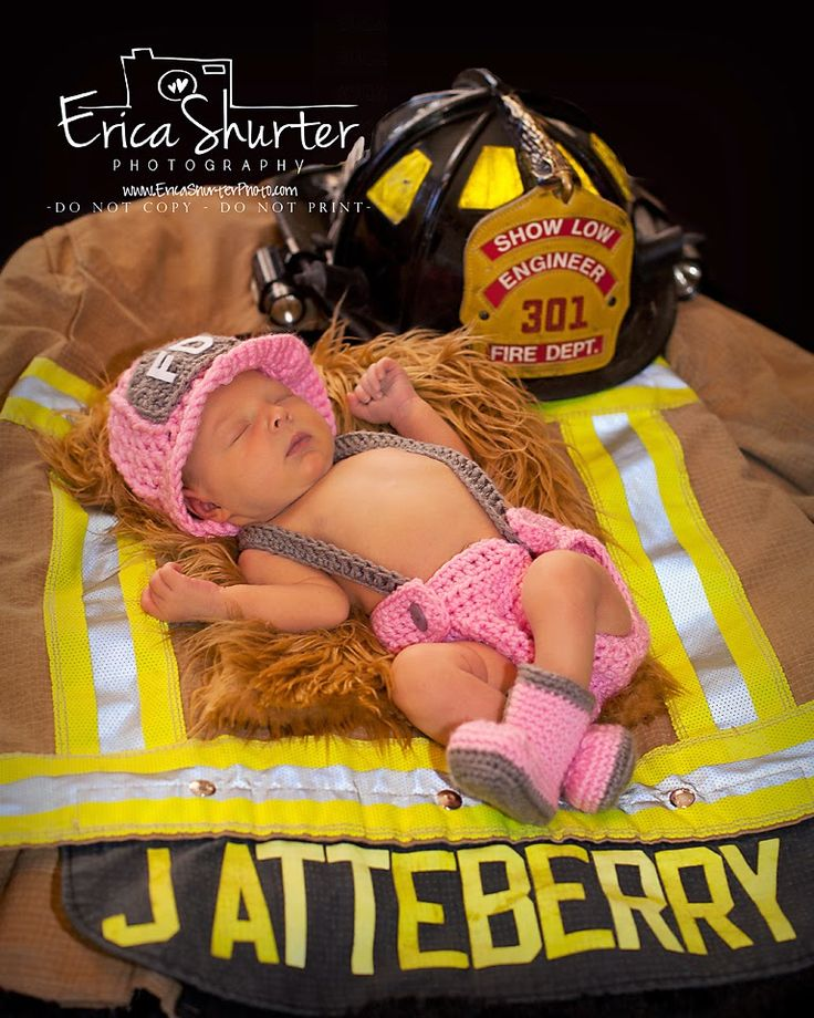 newborn photography, baby girl fire fighter photography