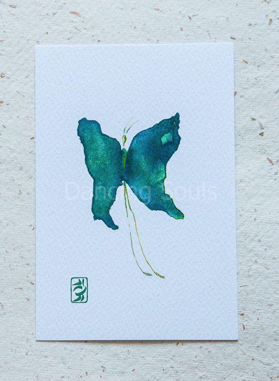 Butterfly green emerald watercolour painting by DancingSoulshop