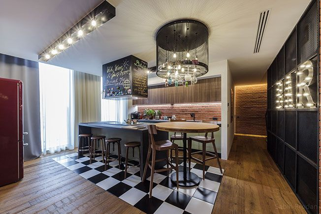 Kitchen area with custom made lighting, Backstage concept - Apartment M, Bucharest