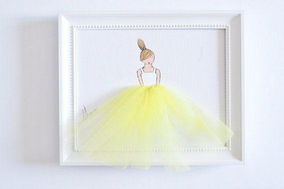 Piccola principessa in tutu  mano tela dipinta di ShenasiConcept