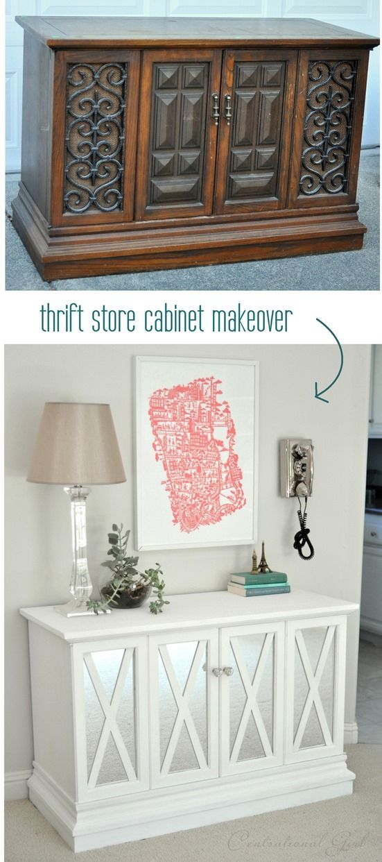 This is clever and simple. Thrift store cabinet $10 makeover