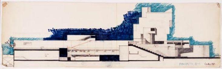 Carlo Aymonino, Disegni per il Gallaratese, 1968, Matita e pennarelli colorati su carta lucida, 29,5x99 cm.