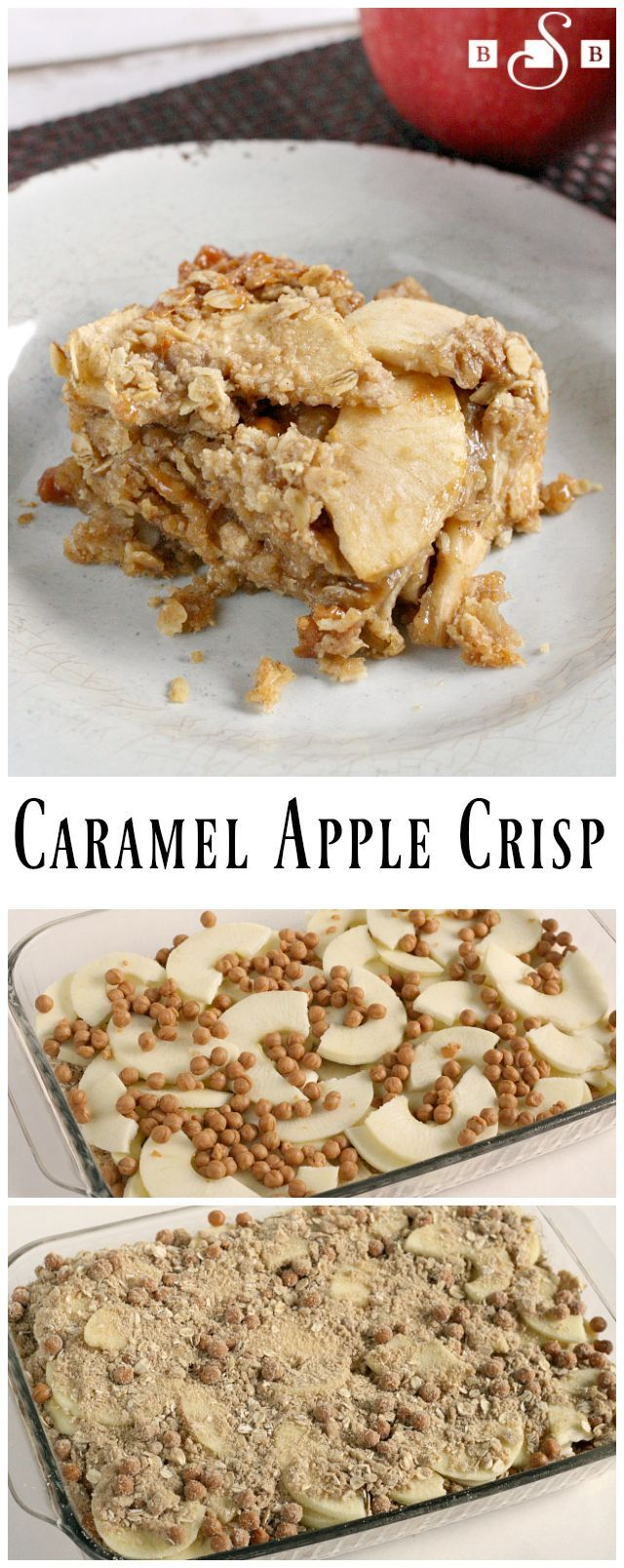 Caramel Apple Crisp - Enjoy the warm fall flavors of this twist on an old favorite! Butter With a Side of Bread #InspiredGathering AD