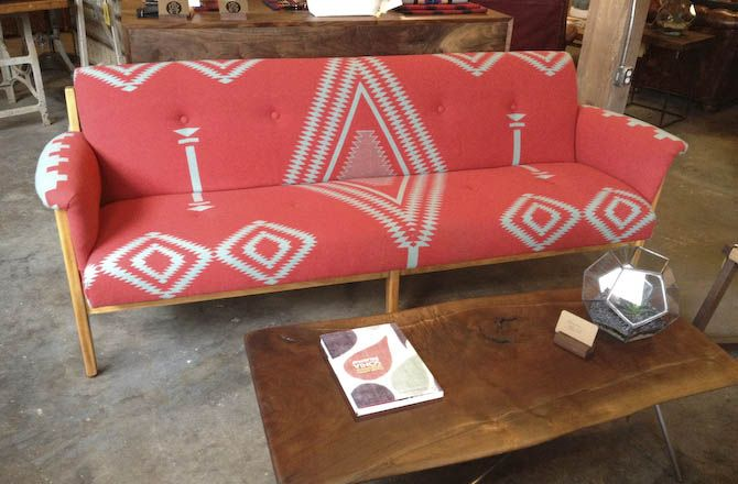 Upcycled sofa in vintage Pendleton blanket by Revive Design at Beam & Anchor, Portland