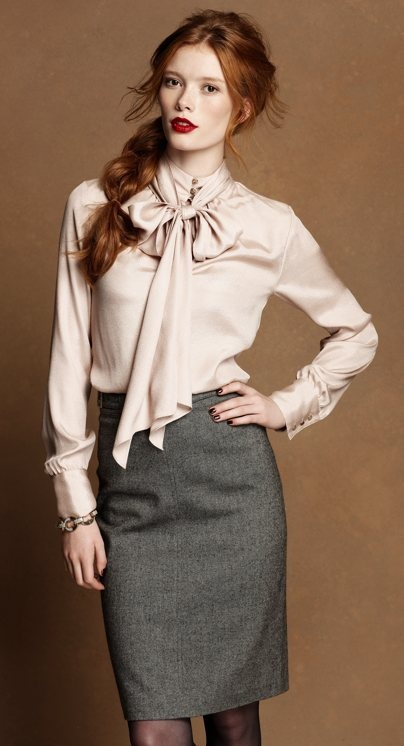 Reaaally need a tweed skirt now, kplzthx. (Source: http://www.anntaylor.com/ann/outfitdetail/AOC1012M/Tie-Neck-Long-Sleeve-Blouse/cat520034/264743)