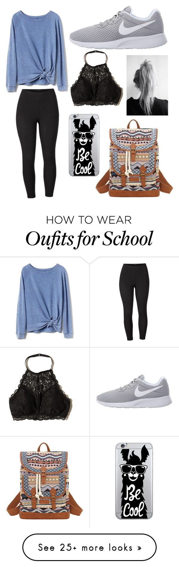 """School outfit"" by mikaelawriter on Polyvore featuring Gap, Hollister Co., NIKE, OTM Essentials, Bandana, Venus and plus size clothing"