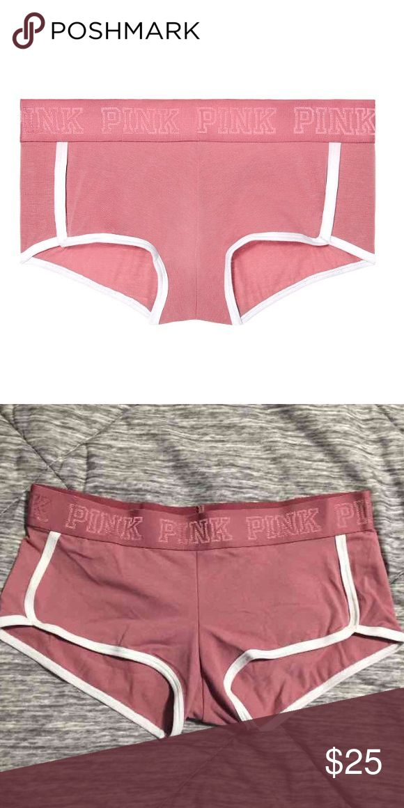 VS Pink logo boy shorts panties New with tags. Victoria's Secret Pink soft begonia boy shorts panties. Hard to find. Price firm unless bundled. PINK Victoria's Secret Intimates & Sleepwear Panties