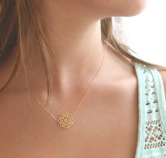 gold necklace gold flower necklace lace pattern by amitvtamar