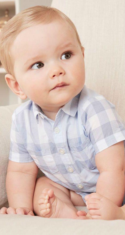 BURBERRY Baby Blue Mini Me Check 'Kirk' Shortie for Summer 2018. #cute #baby #burberry #burberrybaby #kids #fashion #style #minime
