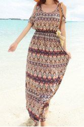 Bohemian Scoop Collar Short Sleeve Printed Women's Dress