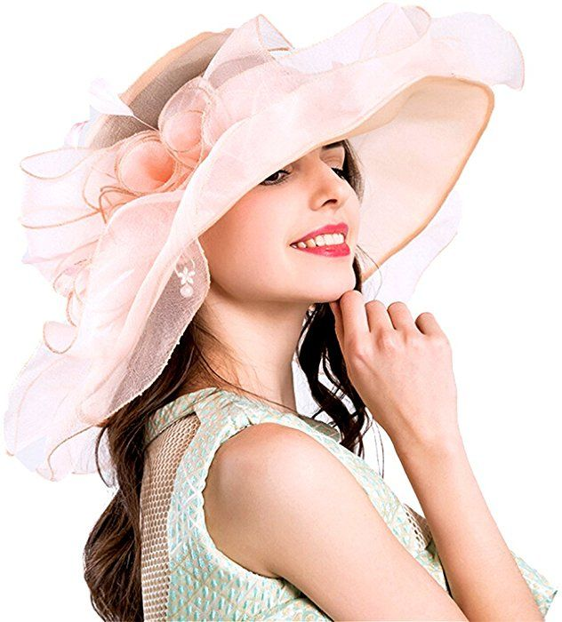 Women Foldable Organza Church Derby Hat Ruffles Wide Brim Pink-a