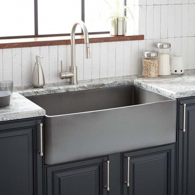 36 Dorhester Fireclay Reversible Farmhouse Sink Smooth Apron Black Apron Black Dorhester In 2020 Fireclay Farmhouse Sink Black Kitchens Kitchen Design