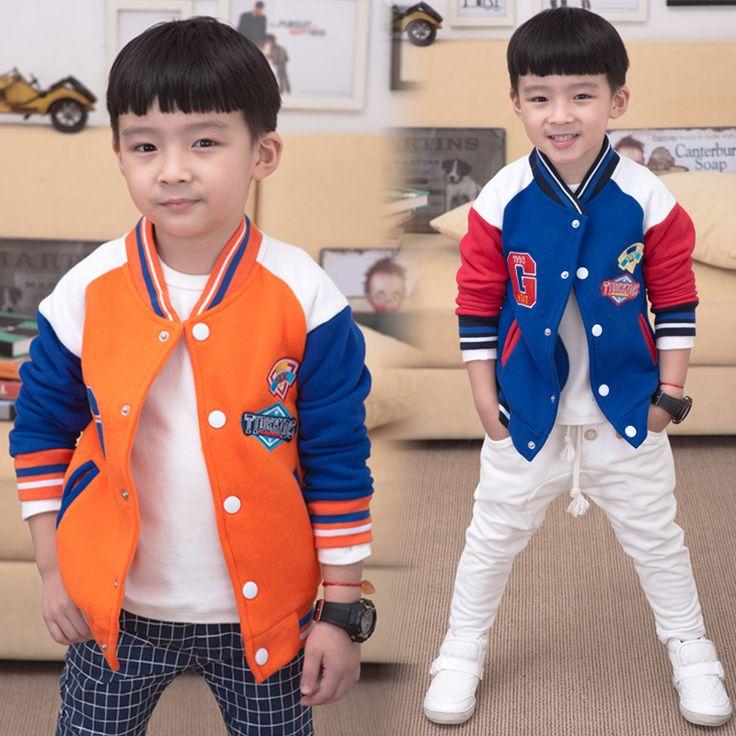 Тенденция 2016 толстовка дети мальчики девочки футболка ребенок флис бейсбол равномерное V-образным Вырезом верхняя одежда спортивные куртки