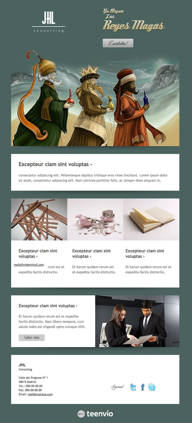 Reyes Magos, plantilla HTML gratis para Newsletter en email marketing