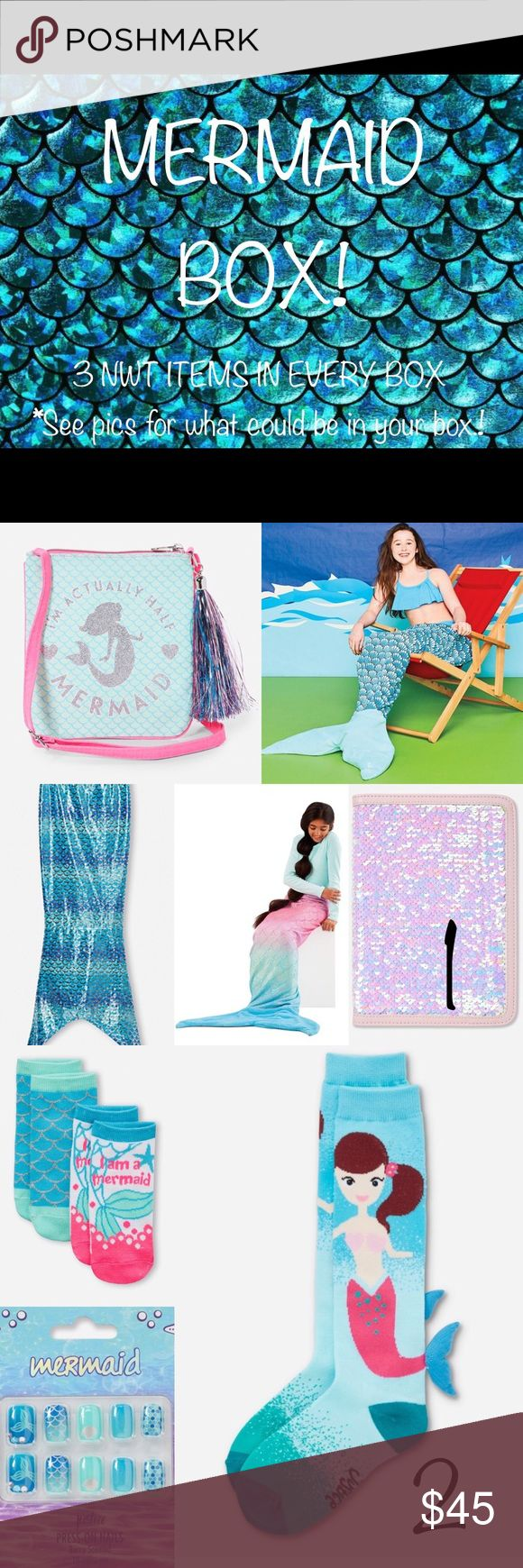 Mermaid Box - 3 New Items for the Mermaid at Heart This box includes one item from each picture (3 in total). All items are new with tags! From Pic 1, your box will include one of these: Mermaid Tail Blanket, Mermaid Tail Towel, Mermaid Tail Coverup, Mermaid Sequin iPad cover & stand, or Mermaid Purse. From Pic 2, your box will include one of these: Mermaid 2 pack socks, Mermaid Knee High Socks, Mermaid Press On Nails, Hatch a Mermaid Toy or Mermaid Putty Toy. From Pic 3, your box will…