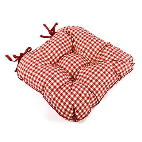 Red Gingham Check Seat Pad | Dunelm
