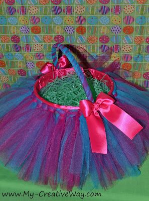 Easter Tutu Basket Tutorial ~ made from a plastic Ice Cream container or plastic Easter basket... easy and cute!