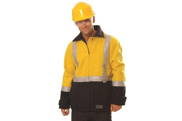 Huski Hi Visibility Wool Blend Jacket Workwear Flame Retardant Yellow Navy New