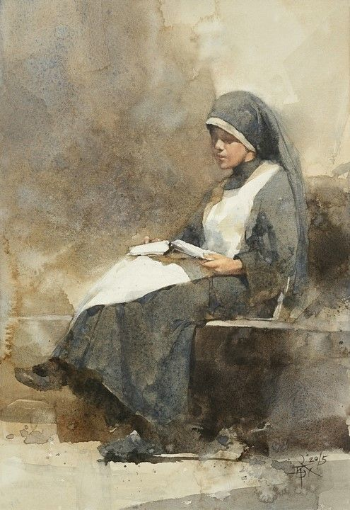 【faith, hope and love / 信、望、愛】, 37 x 27 cm . watercolor Demo by Chien Chung Wei .  To my French friends, for Peace .