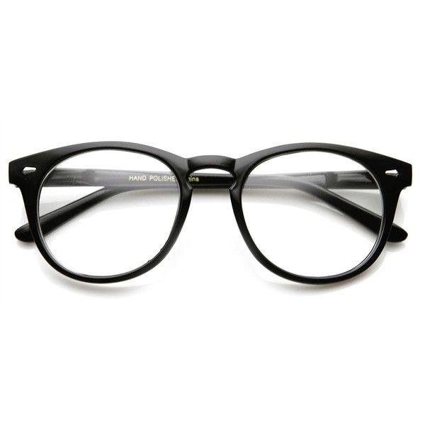 Vintage Shiny Black Rx Optional Round Glasses 8712ZU found on Polyvore