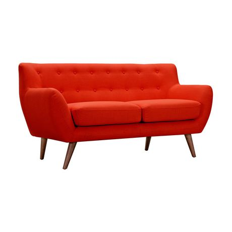 There's no place you'd rather be seated than on the Olson Loveseat in Red. With its elegant modern design and characteristic polyester upholstery, it is the perfect fit for any contemporary home. The p...  Find the Olson Loveseat in Red, as seen in the Mid-Century Modern Ski Trip Collection at http://dotandbo.com/collections/mid-century-modern-ski-trip?utm_source=pinterest&utm_medium=organic&db_sku=109530
