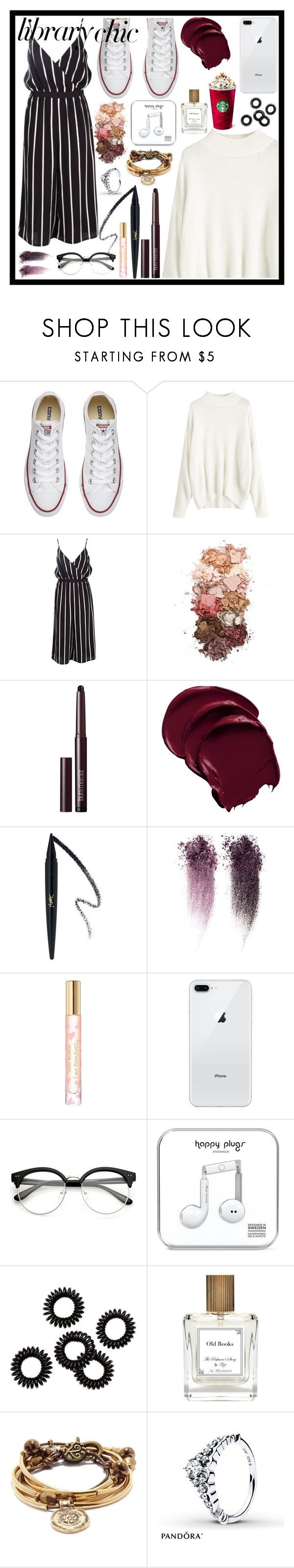 """FINALS SEASON- Library Chic"" by magicxx8 ❤ liked on Polyvore featuring Converse, Boohoo, Sigma, Laura Mercier, Tory Burch, The Perfumer's Story by Azzi, Lizzy James, contestentry and librarychic"