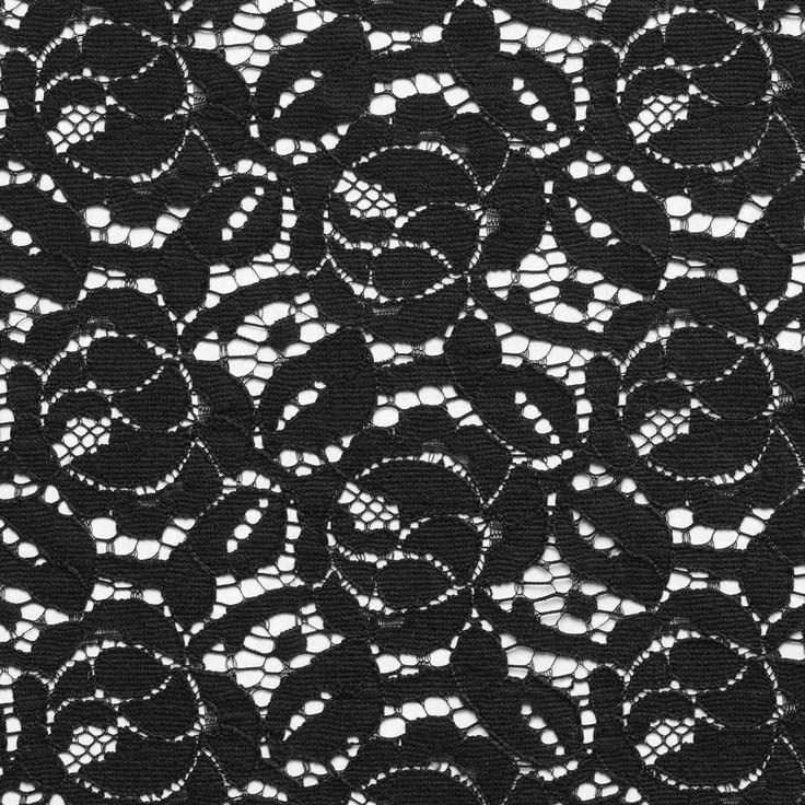 Dentelle noire motif fleurs - Dentelle, Résille, Organza, Sequin - MODE Mondial Tissus