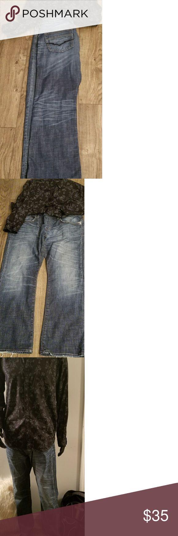 Buffalo Jeans/Wide leg Men's Buffalo Jeans,Rugged Leg/wide leg Jeans. Stone wash. W/42 L/34 Buffalo Jeans Bootcut