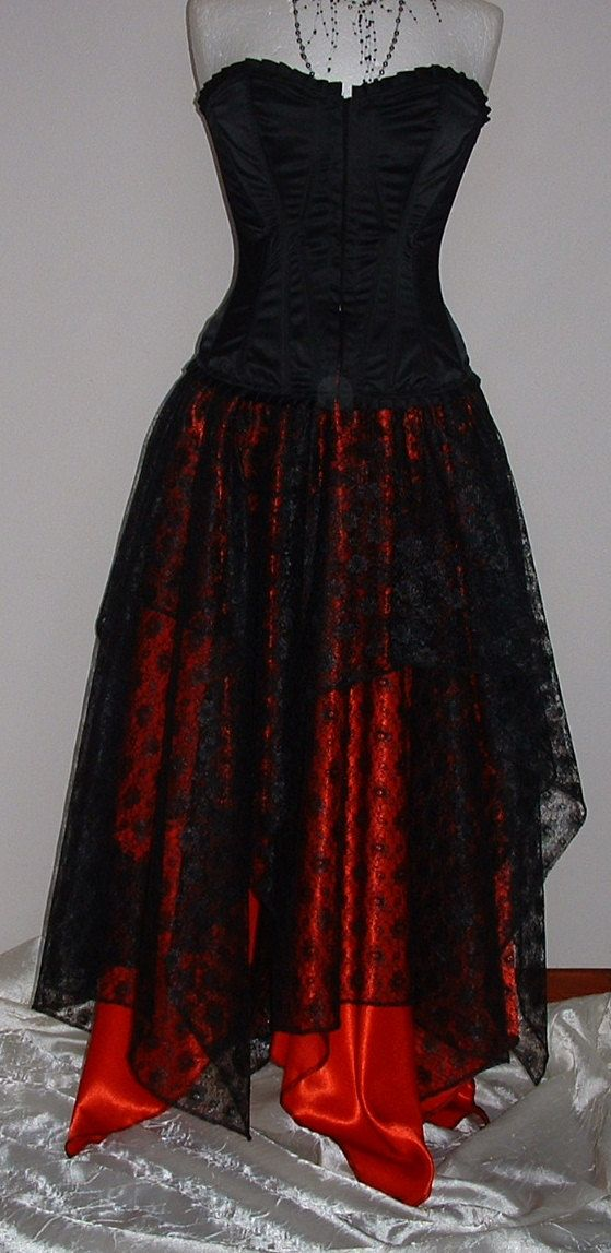 ladies black red goth fantasy skirt long red shimmer satin black lace pixie prom skirt  US size 14 16 18 20 on Etsy, $54.00