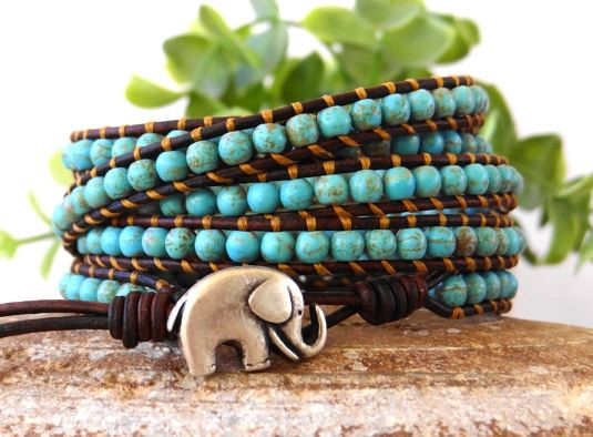 Wrap Bracelet, Turquoise Bracelet, Leather Bracelet, Beaded Bracelet, Leather Wrap, Boho Bracelet, Elephant Bracelet, Gifts For Her.