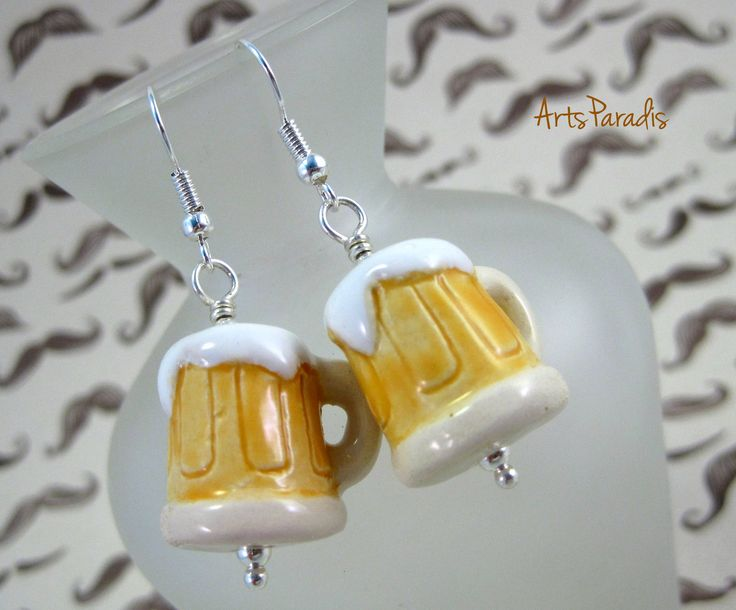 Beer Stein Ceramic Earrings by ArtsParadis. #Beer #Stein #Ceramic #Earrings by ArtsParadis #Zigge #zagge zigge zagge #hoi hoi hoi! These just scream #Oktoberfest to me. And they're #non-alcoholic. So you can totally wear them while you drive! #handmade #fashion #jewelry