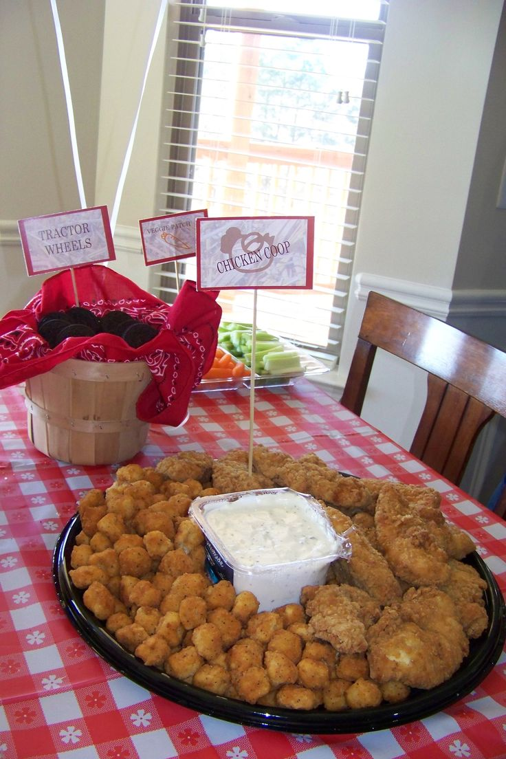 tractor party food labels and table setup