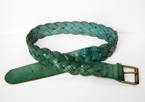 Vintage braided belt Green leather From France 1970 by 5LittleCups