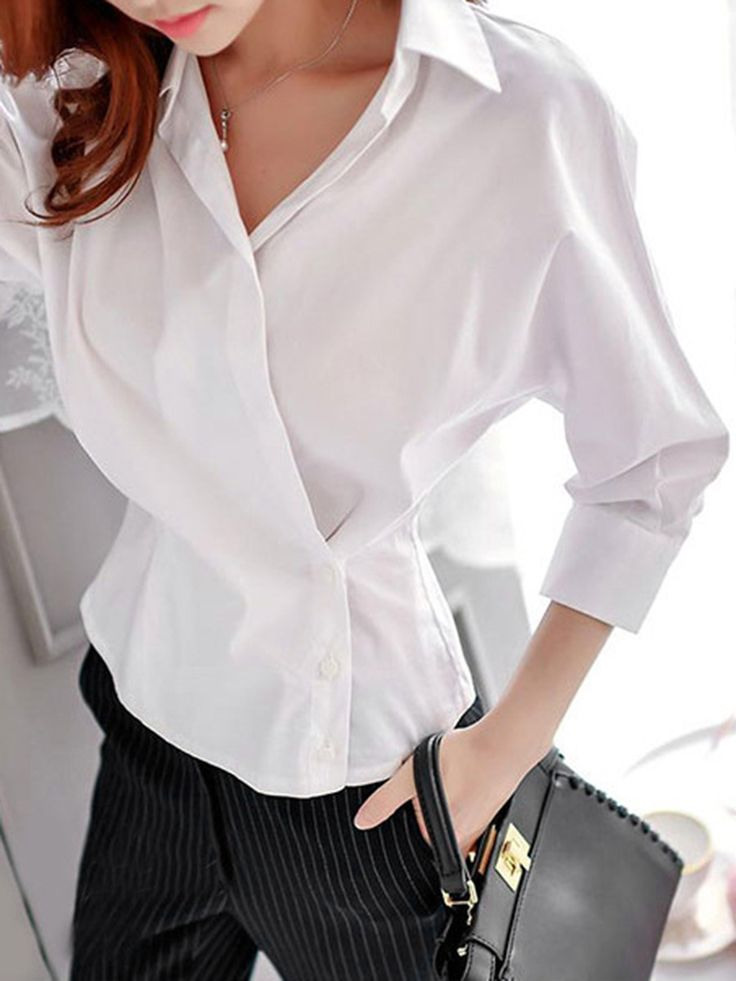 Solid Batwing Sleeve T-Shirt In White  -  berrylook.com